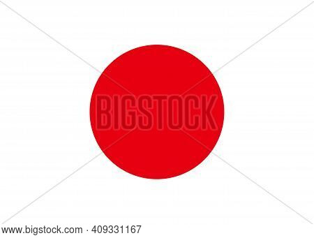 Japan Flag. Icon Of Japan National. Japanese Button. Official Japanese Texture With Red Dot On White
