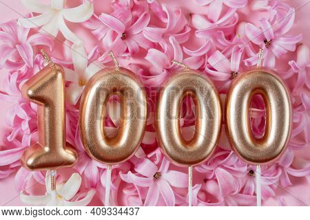 1000 Followers Card. Template For Social Networks, Blogs. Background With Pink Flowers. Social Media