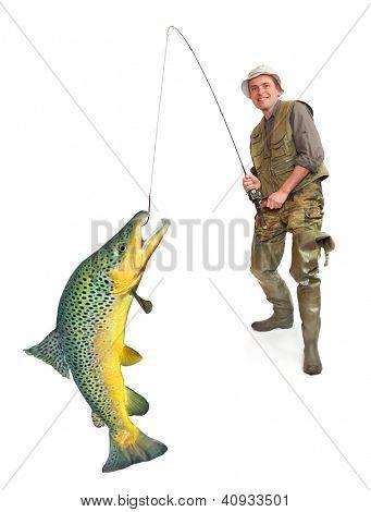 The fisherman with big fish (Brown Trout - Salmo Trutta). Success concept.