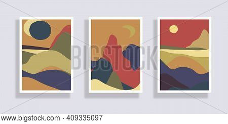 Set Of Minimalist Landscape Abstract Compositions. Collage Organic Shapes With Geometric Nature, Sea