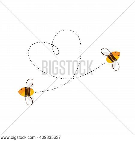 Two Flying Bee And Their Heart Shape Flight Trajectory. Love Or Honey Business Concept. Vector Carto