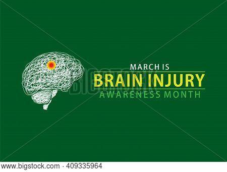Vector Illustration Of National Brain Injury Awareness Month Design