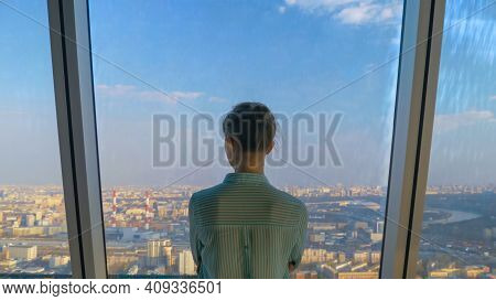 Success, Opportunity, Sightseeing, Discover And Future Concept. Back View Of Pensive Woman Looking A