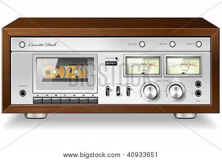 Vintage HI-Fi analog stereo cassette tape deck recorder player detailed vector