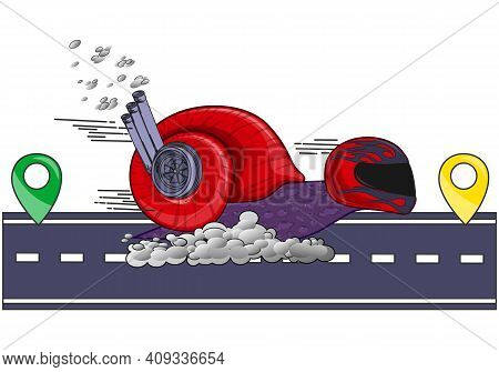 A Fast-moving Snail With A Turbine In A Shell As A Concept For Fast Delivery Between Settlements. Tu
