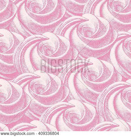Seamless Pattern, Pink Meringues, Marshmallow. Vector In Graphic Vintage Retro. Sweetness, Sweet Cak