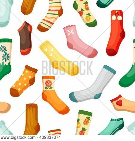 Colored Socks Seamless Pattern. Stylish Woolen With White Stripes Red Pineapple Hearts Drawing Warma