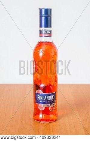 Deblin, Poland - February 16, 2021: Finlandia Redberry Flavored Vodka. Finlandia Is A Brand Of Vodka