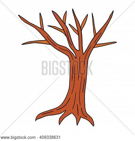 Hand Drawn Bare Tree With Roots Isolated On Background. Vector Illustration.