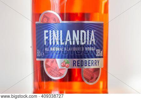Deblin, Poland - February 16, 2021: Detail Of Finlandia Redberry Flavored Vodka. Finlandia Is A Bran