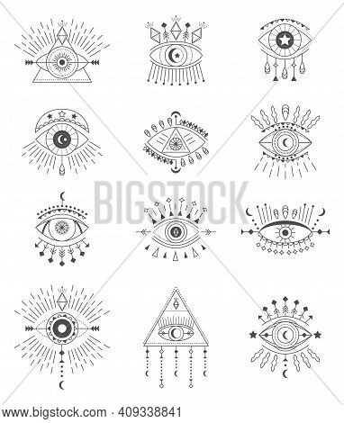 Evil Eye Icon Set Vector. Eye Of Providence And Esoteric Symbols. Magic Sign For Tarot Carts. Witchc