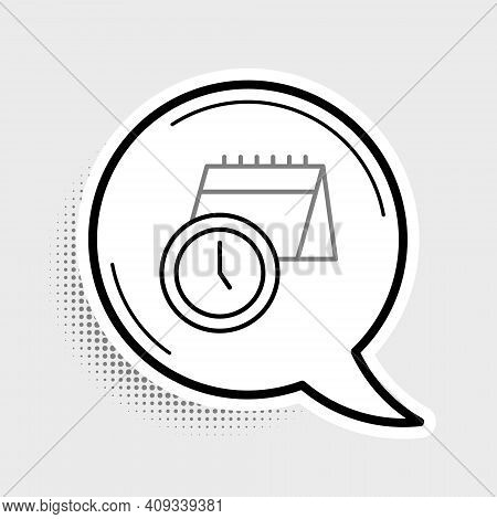 Line Calendar And Clock Icon Isolated On Grey Background. Schedule, Appointment, Organizer, Timeshee