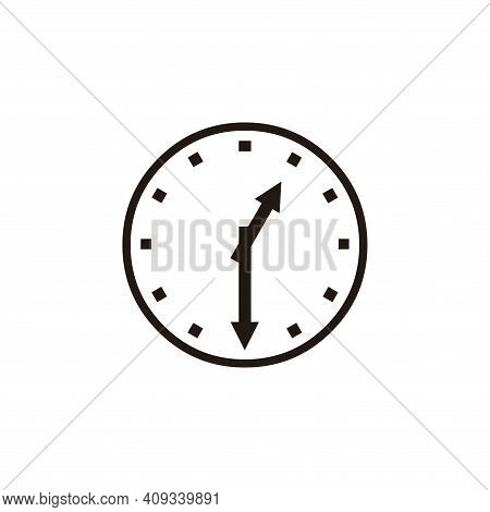 Clock Time Icon Vector. Clock Time Icon Vector Isolated On White Background. Clock Time Icon Simple