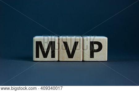 Mvp, Minimum Viable Product Symbol. Wooden Cubes With The Word Mvp, Minimum Viable Product. Beautifu