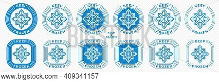 Concept For Product Packaging. Marking - Keep Frozen And Frozen Product. The Snowflake Icon Is A Sym