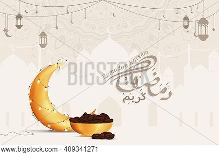 Ramadan Kareem Greetings Vector Background Illustration Design