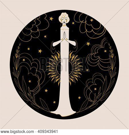 Meditating Woman On A Night Background With The Moon, Sun, Stars And Clouds In A Round Frame. The Co