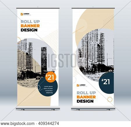 Orange Business Roll Up Banner. Abstract Roll Up Background For Presentation. Vertical Roll Up, X-st