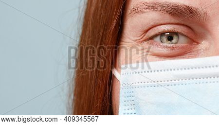 Doctor Or Nurse Wears Protective Face Mask Against Coronavirus, Flu, Infectious Diseases. Girl Beaut