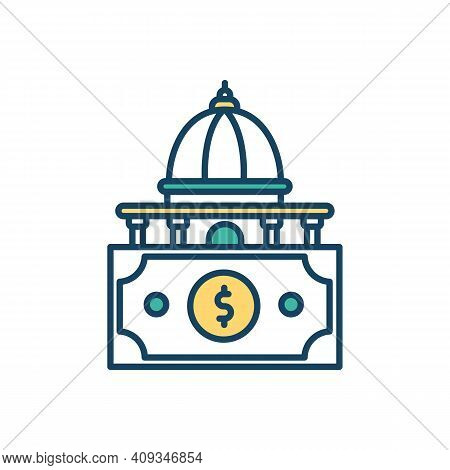State Funding Rgb Color Icon. Public Finance. Government Funding. Additional Financial Support. Mone