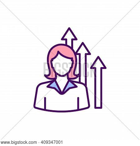 Woman Ambition Rgb Color Icon. Women In Business. Aspiring For Power. Reaching Goal Through Hard Wor