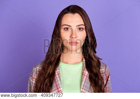 Photo Of Serious Young Lady Serious Face Mood Wear Checkered Shirt Isolated On Purple Color Backgrou