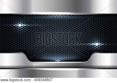 Silver Abstract Dimension On Black Texture Background. Realistic Overlap Layers Texture With Lights