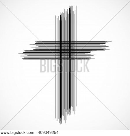Abstract Cross. Christian Symbol. Sign Of Lines. Vector