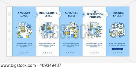 Foreign Language Learning Levels Onboarding Vector Template. Beginner. Advanced Level. Test Prep Cou