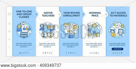 Online Foreign Language Courses Onboarding Vector Template. One-to-one Classes. Year-round Enrollmen