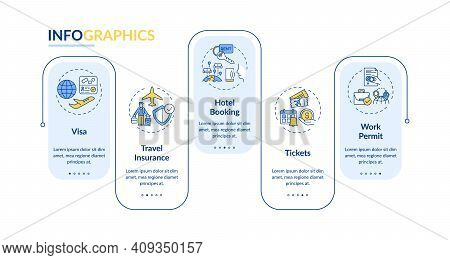 Business Trip Requirements Vector Infographic Template. Work Permit Presentation Design Elements. Da
