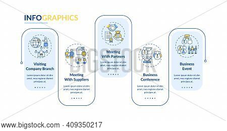 Business Travel Types Vector Infographic Template. Meeting With Suppliers Presentation Design Elemen