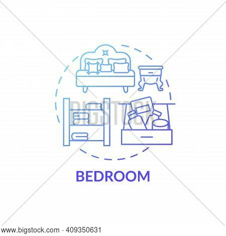 Bedroom Blue Gradient Concept Icon. Tidying House Idea Thin Line Illustration. Sleep And Relax. Airi