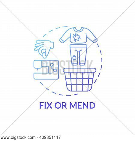 Fix Or Mend Blue Gradient Concept Icon. Using Cases For Clothes Need To Be Cleaned Idea Thin Line Il