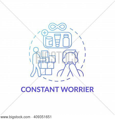 Constant Worrier Blue Gradient Concept Icon. Buying For Future Idea Thin Line Illustration. Categori