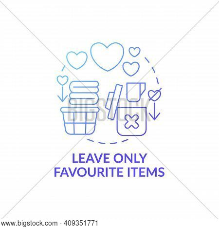 Leave Only Favourite Things In House Blue Gradient Concept Icon. Sorting Necessary Items And Junk Id