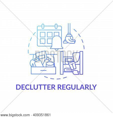 Declutter Regularly Blue Gradient Concept Icon. Habits To Prevent Clutter Idea Thin Line Illustratio