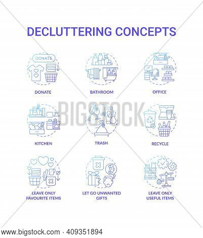 Decluttering Blue Gradient Concept Icons Set. Donate And Recycle Idea Thin Line Rgb Color Illustrati