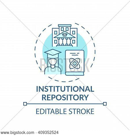 Institutional Repository Concept Icon. Digital Library Search Options Idea Thin Line Illustration. C