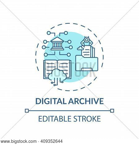 Digital Archive Concept Icon. Online Library Access Idea Thin Line Illustration. Types Of Digital Li