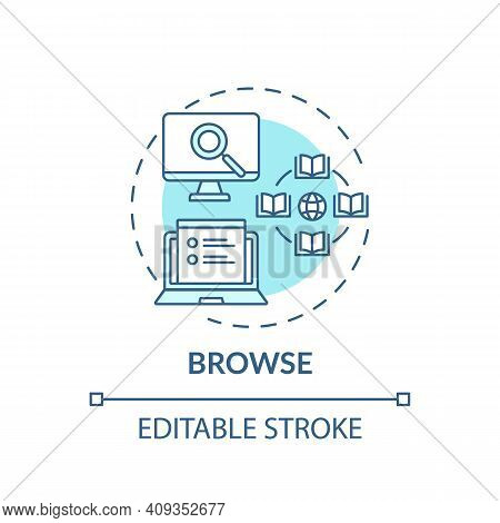 Browse Process Concept Icon. Online Library Search Types Idea Thin Line Illustration. Digital Librar