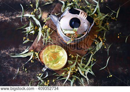 Linden Tea, Teapot, Linden Leaves. Linden Tea Making Concept.