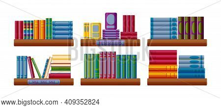 Bookshop Shelves With Bestsellers And Sale Options. Bookstore Shelf In Cartoon Style. Vector Illustr