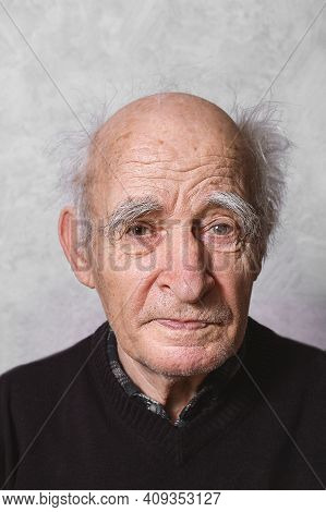 Elderly Man Portrait. Close Up. Glaucoma In Left Eye. Getting Old Concept. Amazingly Beautiful Old M