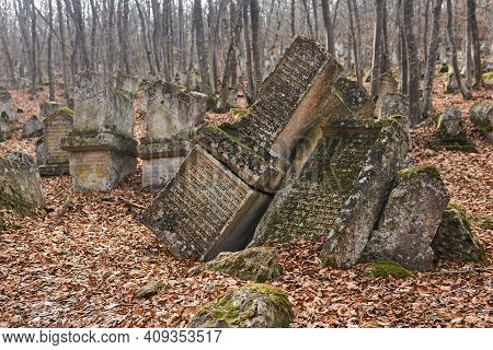 Bakhchisarai, Crimea - January 25, 2021: Gravestones At The Ancient Karaim Cemetery