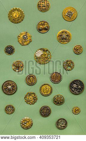Set of vintage buttons - retro fashion background