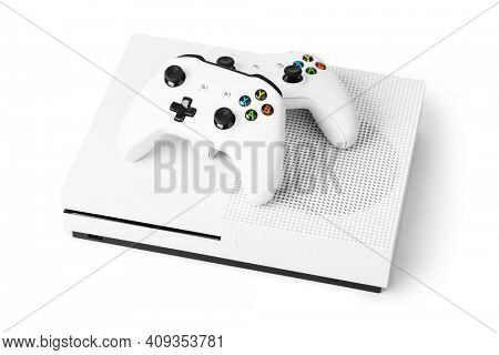 Wireless gamepads and game console isolated on white background