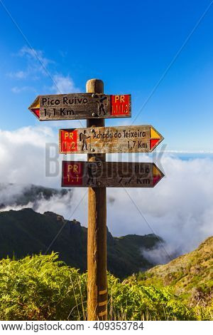 Signboard Pico Ruivo in Madeira Portugal - travel background