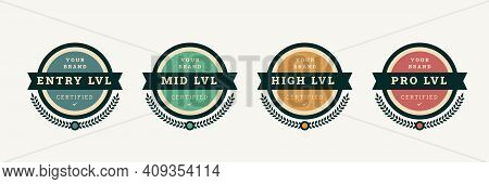 Digital Certified Logo Badge Template. Certification Emblem With Vintage Concept Design. Vector Illu