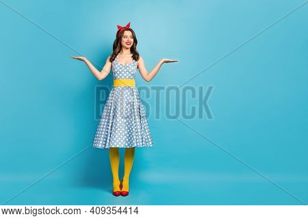 Full Length Body Size View Of Her She Nice-looking Attractive Lovely Pretty Cheerful Wavy-haired Gir